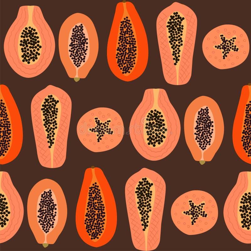 Exotisch naadloos patroon met abstracte papajavruchten stock illustratie