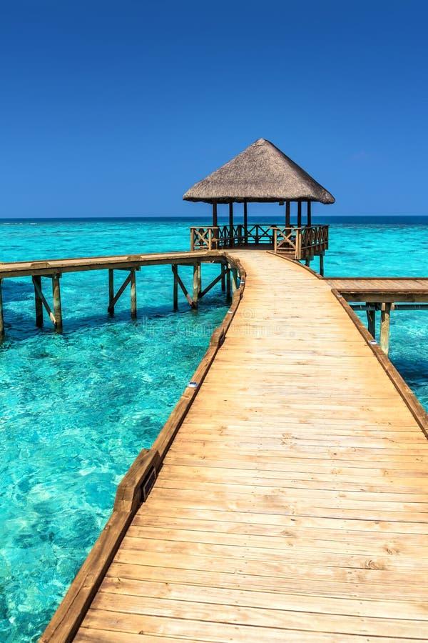 Exotisch Paradijs Reis, toerisme en vakantiesconcept Tropische Toevlucht bij het eiland van de Maldiven stock foto's