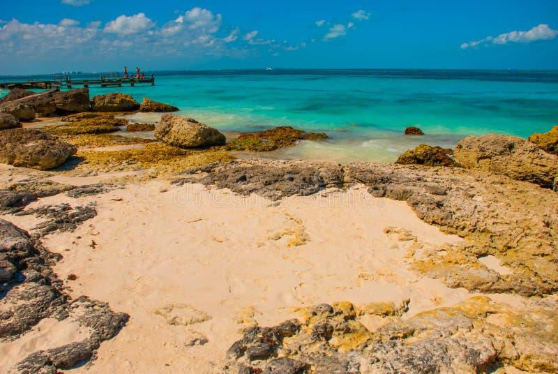 Exotisch Paradijs Tropische toevlucht Caraïbische overzeese Pier dichtbij Cancun Het strand van Mexico tropisch in de Caraïben royalty-vrije stock foto's