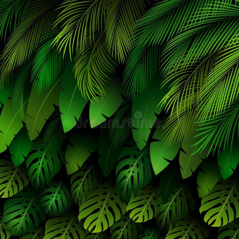 Exotisch patroon met tropische bladeren op een zwarte achtergrond stock illustratie
