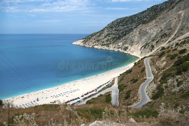 Exotisch strand Myrtos Kefalonia royalty-vrije stock foto's
