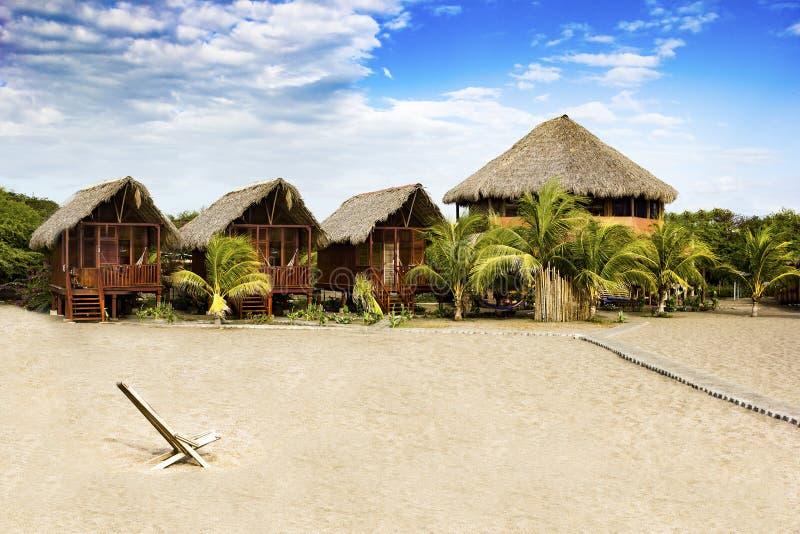 Exotisch strandhuis bij het strand in Nicaragua, CA stock foto