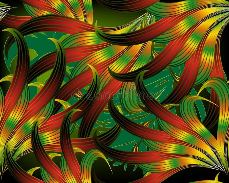 Exotisch tropisch abstract blad 3d vector naadloos patroon Moderne sier ingewikkelde achtergrond Herhaal het gloeien achtergrond royalty-vrije illustratie