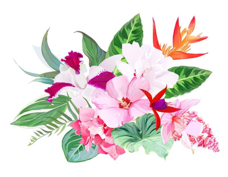 Exotisch tropisch bloemen vectorboeket vector illustratie
