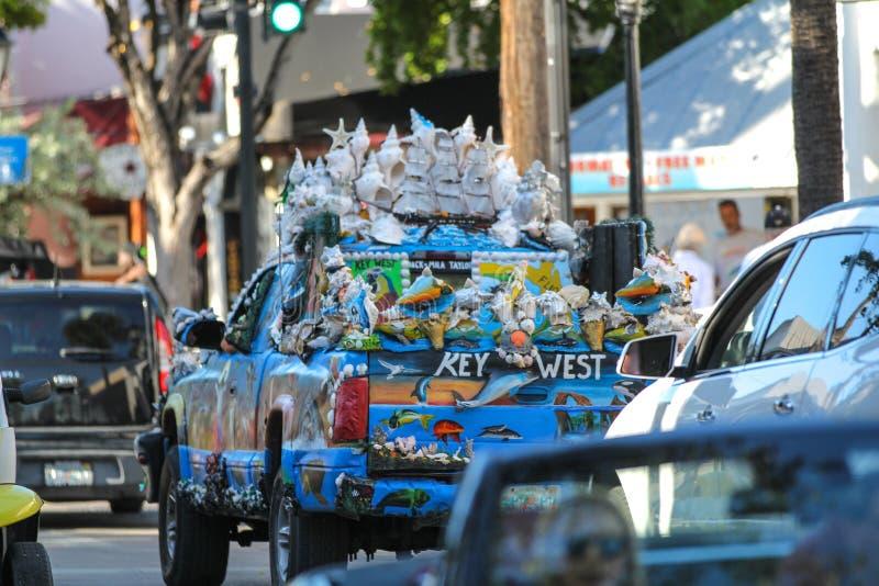 Exotische auto in Key West, Florida stock afbeelding