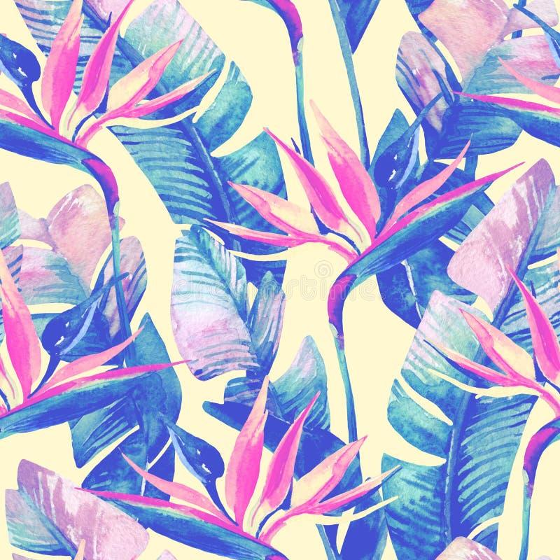 Exotische bloemen, bladeren in retro vanillekleuren op pastelkleurachtergrond stock illustratie