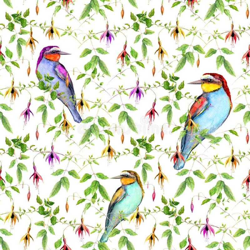 Exotische bloemen en heldere tropische vogel Het herhalen van bloemenpatroon watercolor vector illustratie