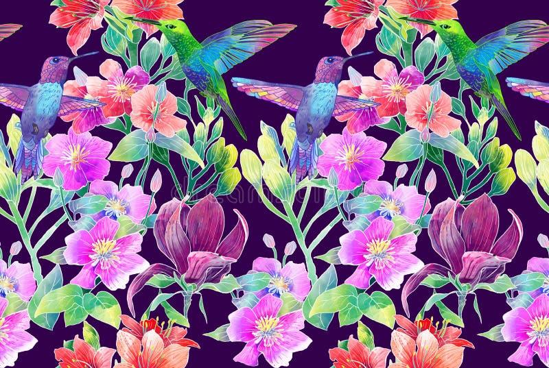 Exotische bloemen en vogels royalty-vrije illustratie