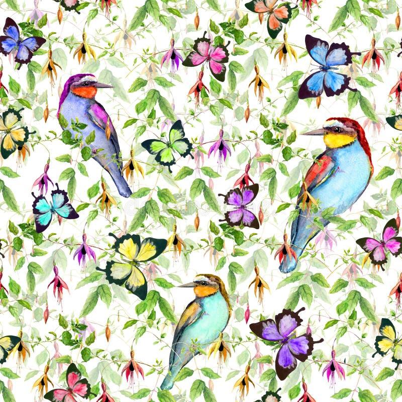 Exotische bloemen, tropische vlinders en vogels Naadloos BloemenPatroon watercolor royalty-vrije illustratie