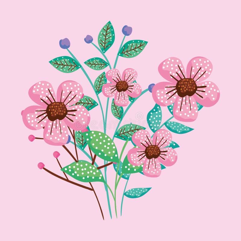 Exotische bloemeninstallaties met bladerenontwerp stock illustratie