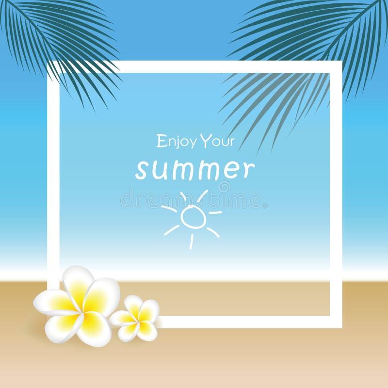 Exotische Blumen und Palmblatt des Frangipani auf schönem Strandsommerhintergrund stock abbildung