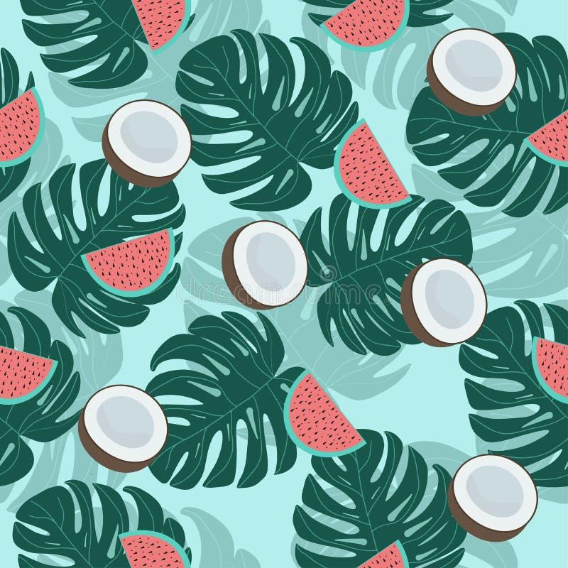 Exotische de kokosnotenwatermeloen van het fruitpatroon royalty-vrije stock afbeeldingen