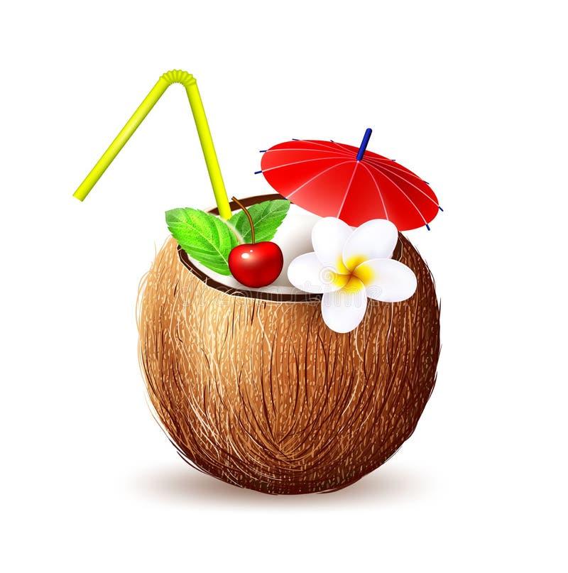 Exotische Frucht 3d der realistischen Kokosnuss des Vektors stock abbildung