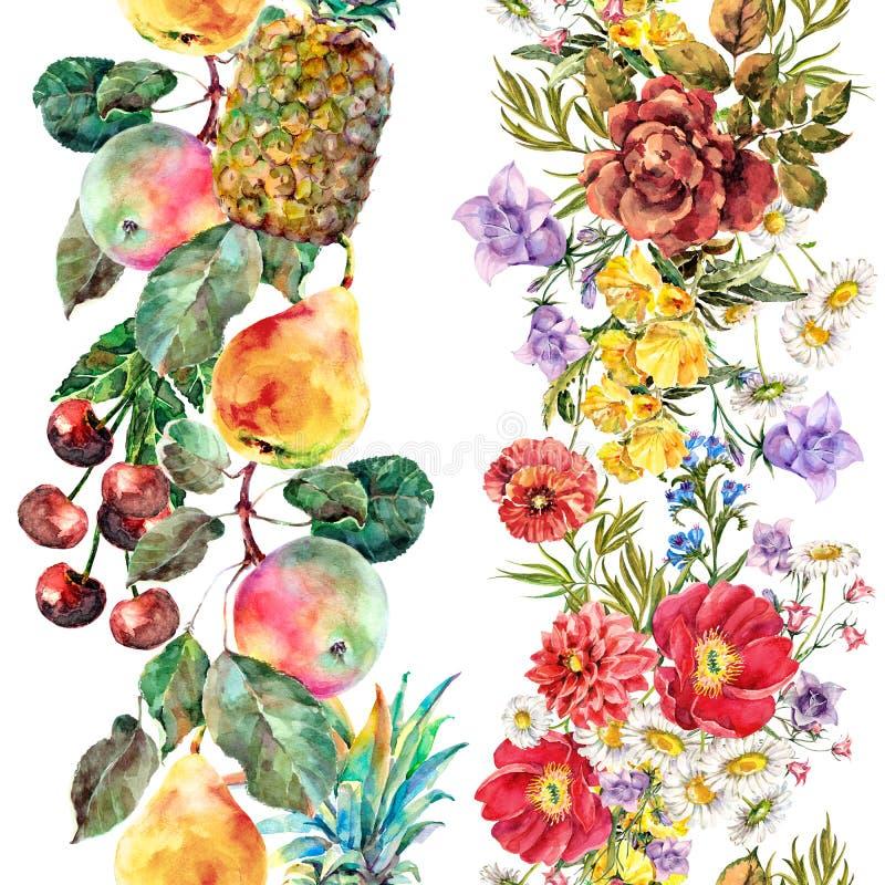 Exotische Frucht des Aquarells auf weißem Hintergrund Nahtloses Muster stock abbildung