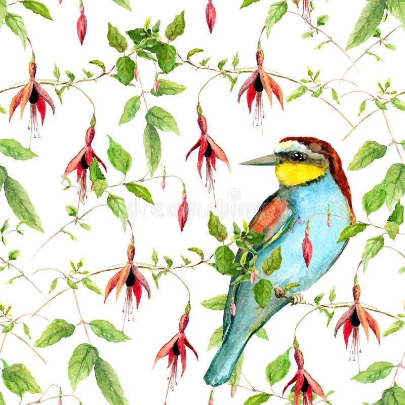 Exotische fuchsiakleurig bloemen en heldere tropische vogel Het herhalen van bloemenpatroon watercolor vector illustratie
