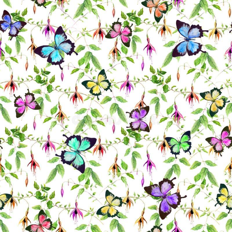 Exotische fuchsiakleurig bloemen en heldere tropische vogels Naadloos BloemenPatroon royalty-vrije illustratie