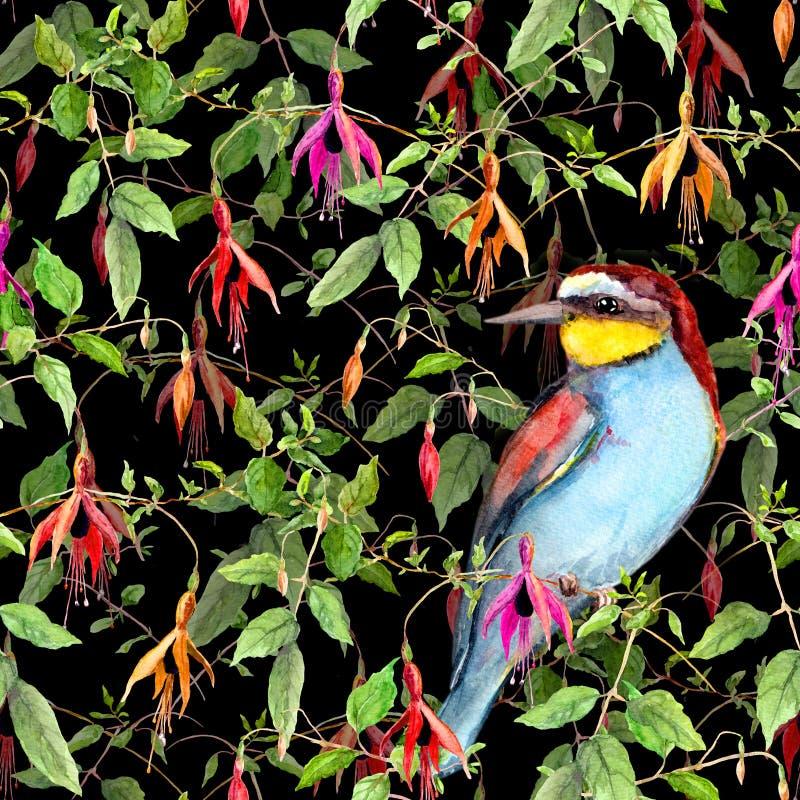Exotische fuchsiakleurig bloemen en wildernisvogel op zwarte achtergrond Naadloos BloemenPatroon watercolor royalty-vrije illustratie