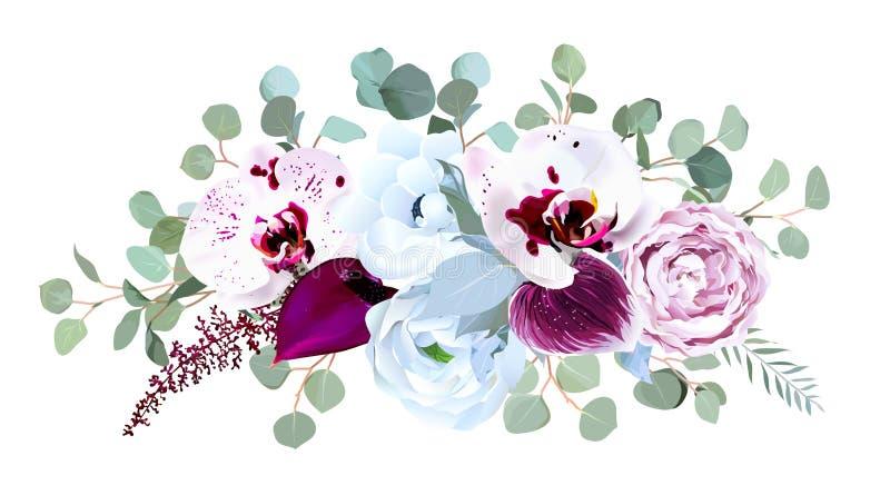 Exotische gesprenkelte Orchidee, Blütenschweif, purpurrote Rose, Anemone, eucalyp stock abbildung