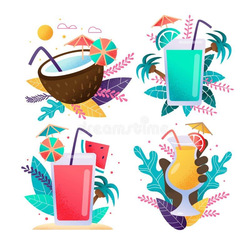 Exotische Getränke, die Karikatur-tropischen Satz annoncieren stock abbildung