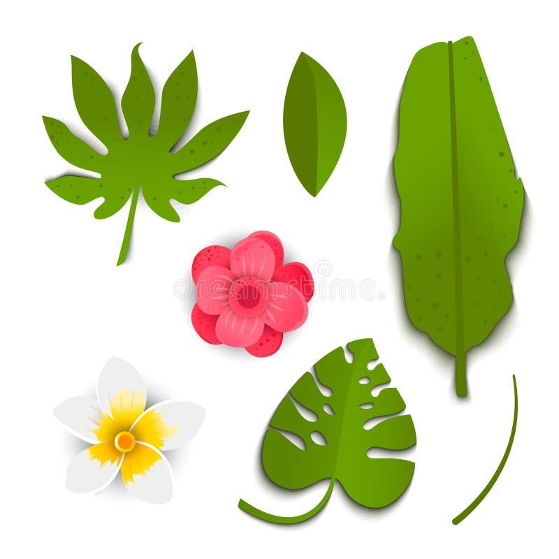Exotische groene tropische bladeren en bloemen in document besnoeiingsstijl royalty-vrije illustratie
