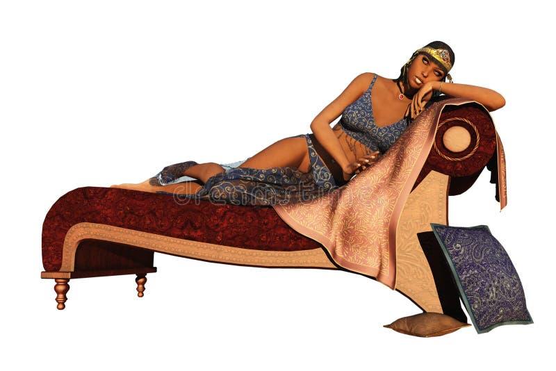 Exotische Königin der Fantasie, die auf Couch stützt stock abbildung