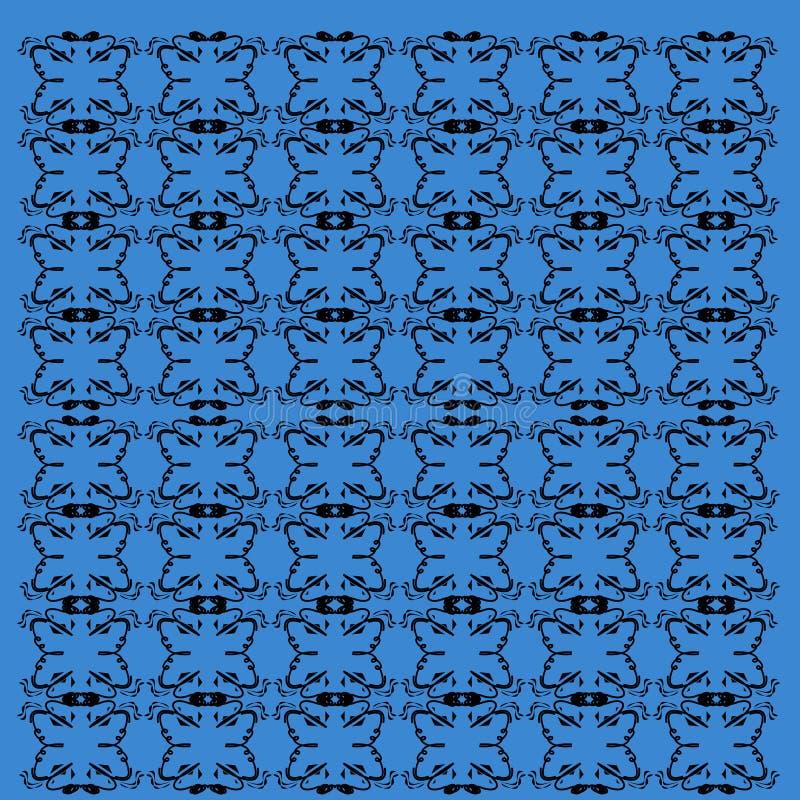 Exotische LuxusMandalen blau, schwarze Linien vint lizenzfreie stockfotografie