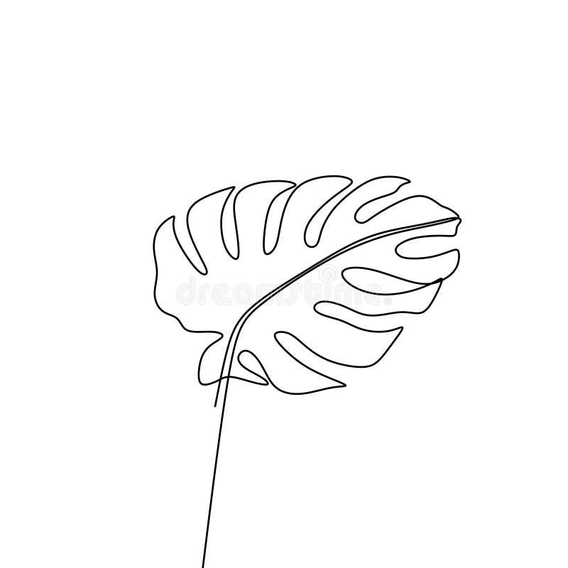 Exotische monstera ononderbroken hand van het de zomer de tropische blad van de lijntekening die op wit minimalistisch ontwerp wo stock illustratie