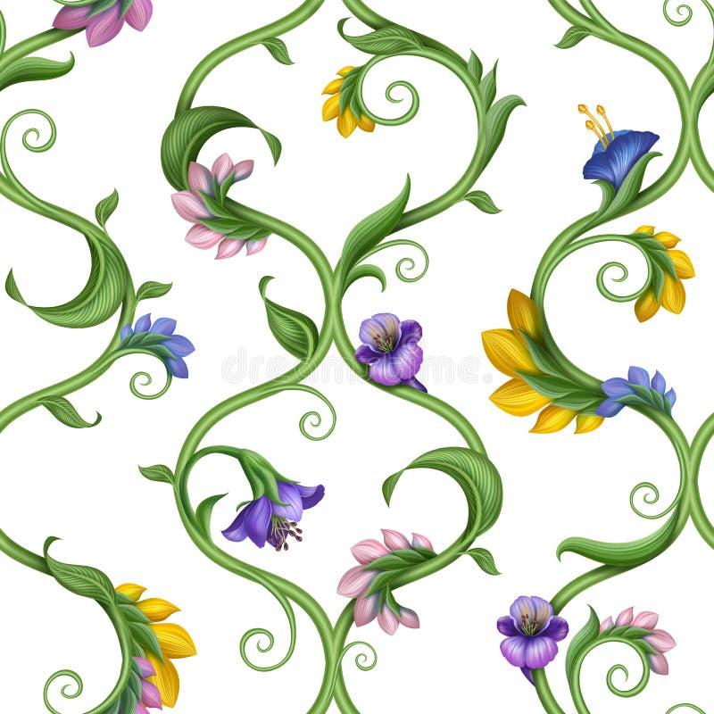 Nahtloser natürlicher aufwändiger Blumenmusterhintergrund vektor abbildung