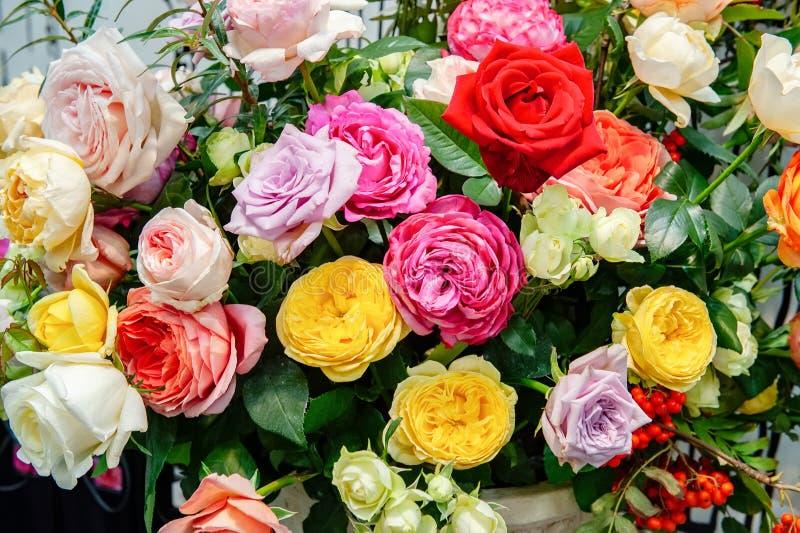 Exotische Rosen der rosa modernen Auslesevielzahl im Blumenstrauß als Geschenk Hintergrund Selektiver Fokus stockbild