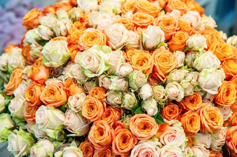 Exotische Rosen der rosa modernen Auslesevielzahl im Blumenstrauß als Geschenk Hintergrund Selektiver Fokus stockfotografie