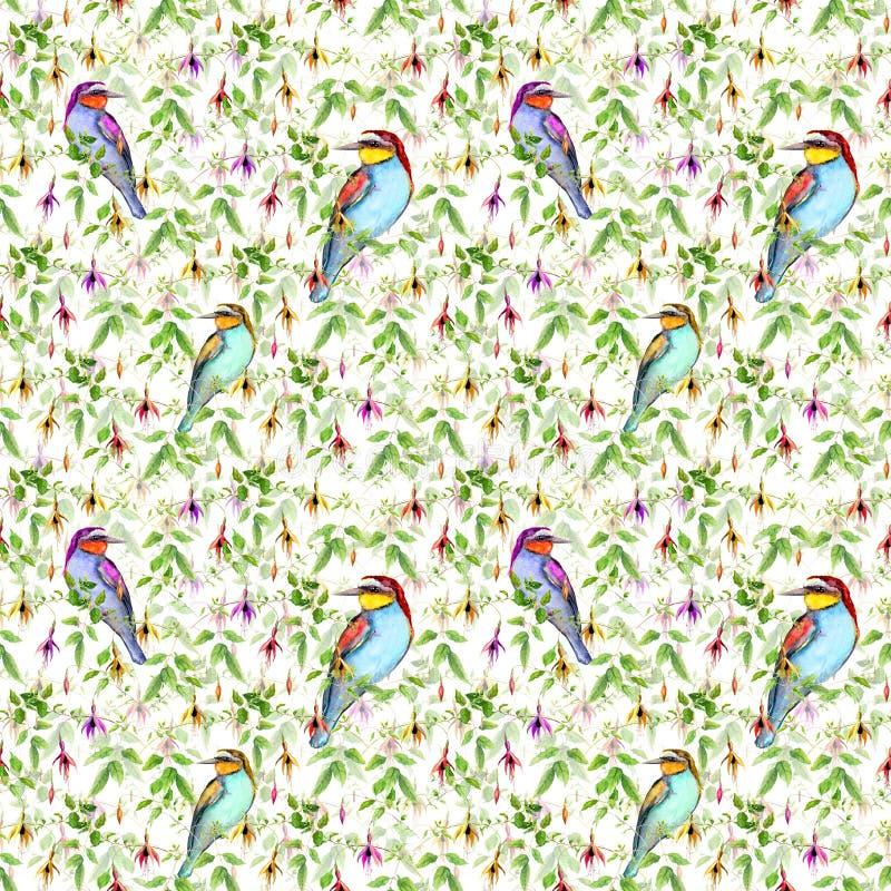 Exotische roze bloemen en heldere tropische vogels Naadloos BloemenPatroon watercolour vector illustratie