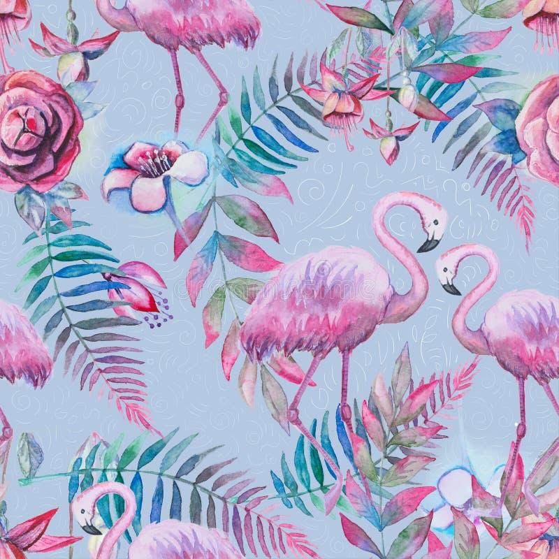 Exotische samenstelling van tropische vogels roze flamingo Naadloos het patroonbehang van het wildernisstrand met bladeren en blo royalty-vrije illustratie