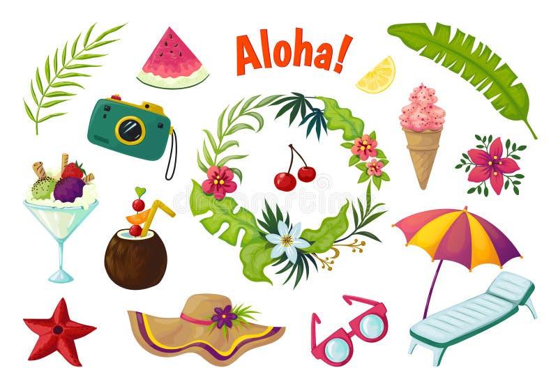 Exotische stickers Verlaat de tropische inzameling van de de zomerpartij van krabbelvruchten cocktailflamingo, de samenvatting va vector illustratie