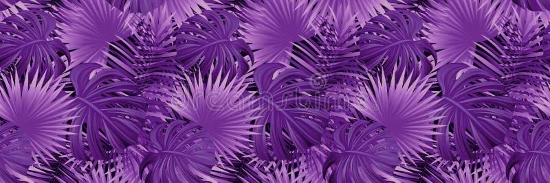 Exotische Tropische Achtergrond tropische vectorbanner Illustratie behang met wildernisinstallaties, palmenbladeren Mooi vector illustratie