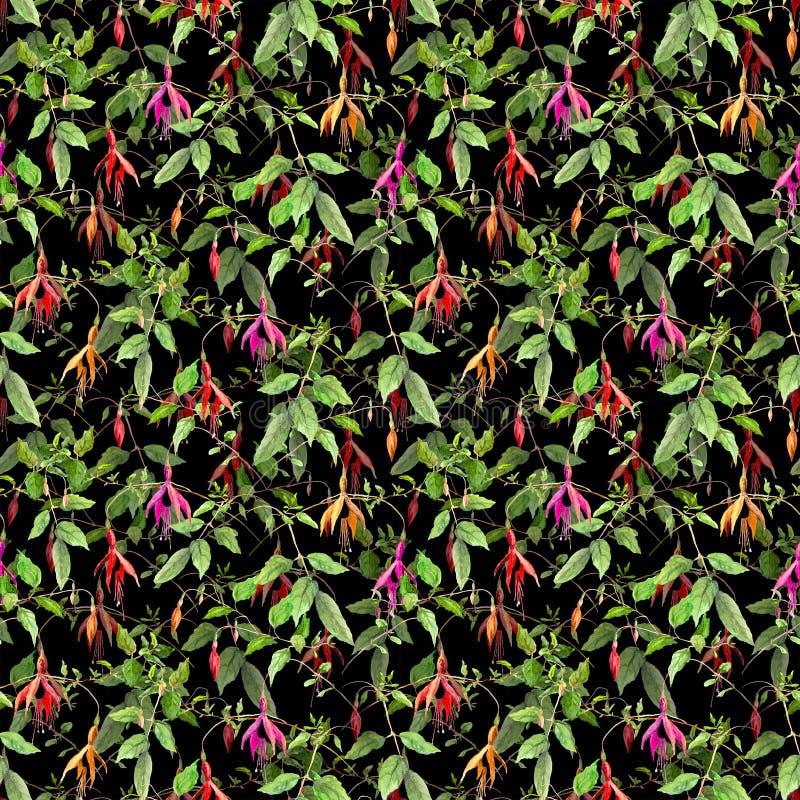 Exotische tropische bloemen op zwarte achtergrond Naadloos BloemenPatroon Waterkleur vector illustratie