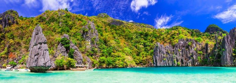 Exotische tropische eilanden Unieke ongelooflijke aard van Gr Nido, Pa stock afbeelding