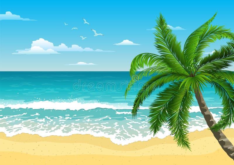 Exotische tropische Landschaft mit Palme E Tourismus und Reisen vektor abbildung