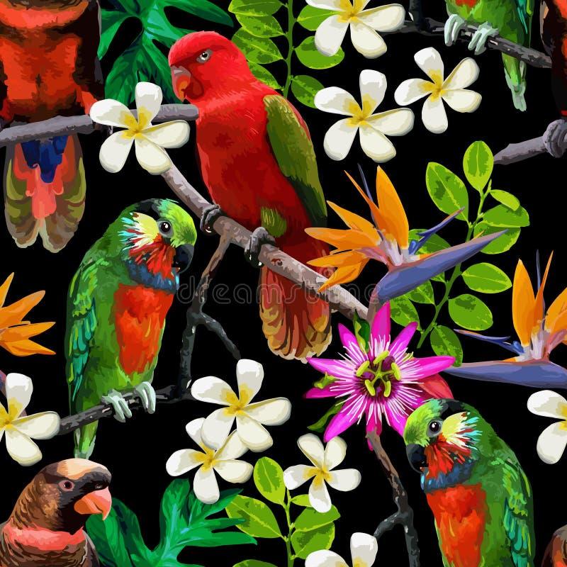 Exotische Vögel und schöne Blumen vektor abbildung