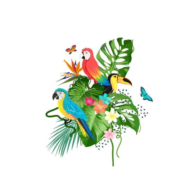 Exotische Vögel und tropische Anlagen stock abbildung