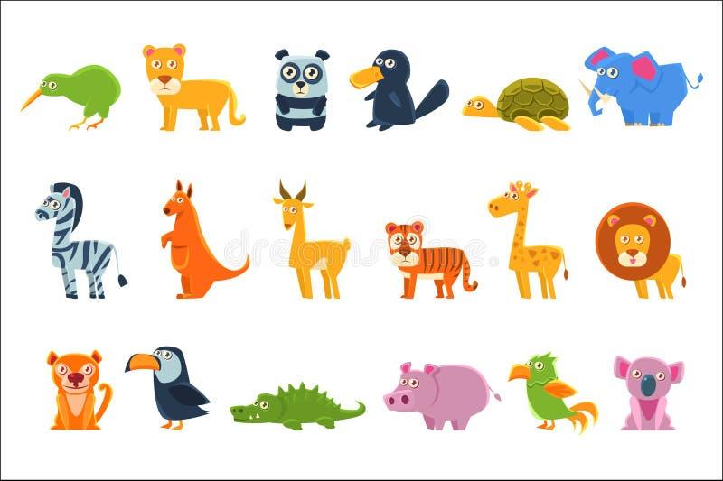 Exotischer Tier-Fauna-Satz stock abbildung