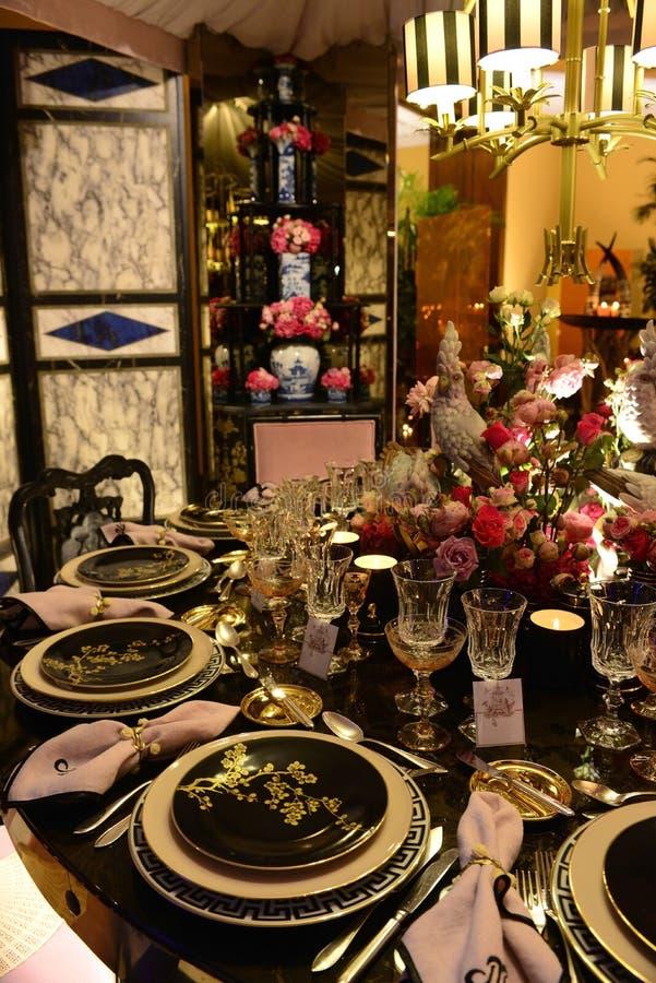 Exotischer Tischschmuck, Abendessen, asiatische Art lizenzfreies stockbild