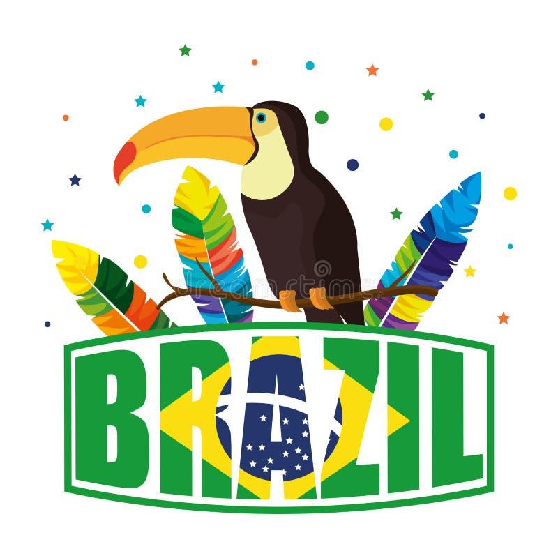 Exotischer Vogel des Tukans mit brasilianischem Aufkleber stock abbildung