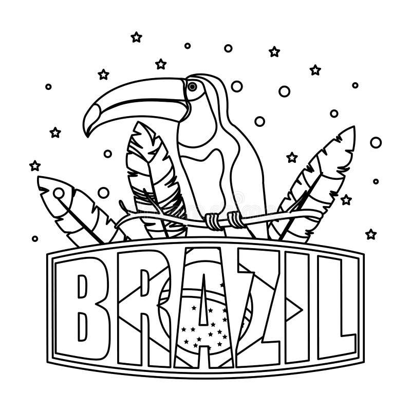 Exotischer Vogel des Tukans mit brasilianischem Aufkleber lizenzfreie abbildung