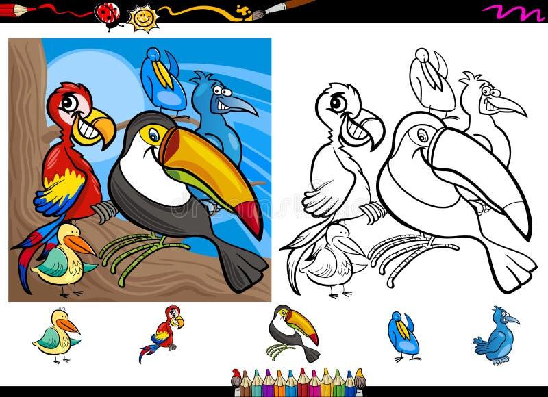 Exotischer Vogelkarikaturfarbton-Seitensatz lizenzfreie abbildung