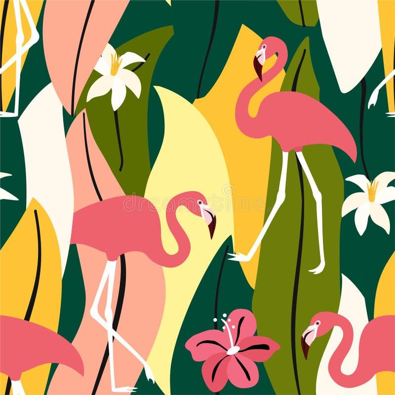 Exotisches Muster des Zusammenfassungssommers mit Flamingos und tropischen Blättern Vektornahtlose Beschaffenheit Modische Illust lizenzfreie abbildung
