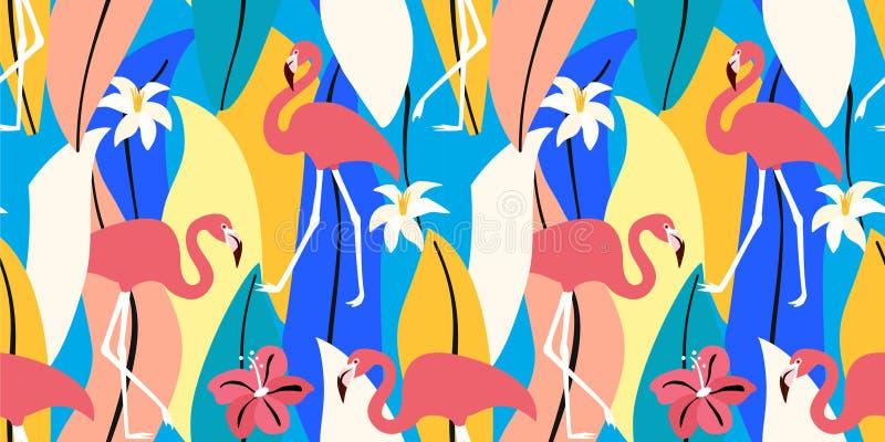 Exotisches Muster des Zusammenfassungssommers mit Flamingos und tropischen Bl?ttern Vektornahtlose Beschaffenheit Modische Illust vektor abbildung