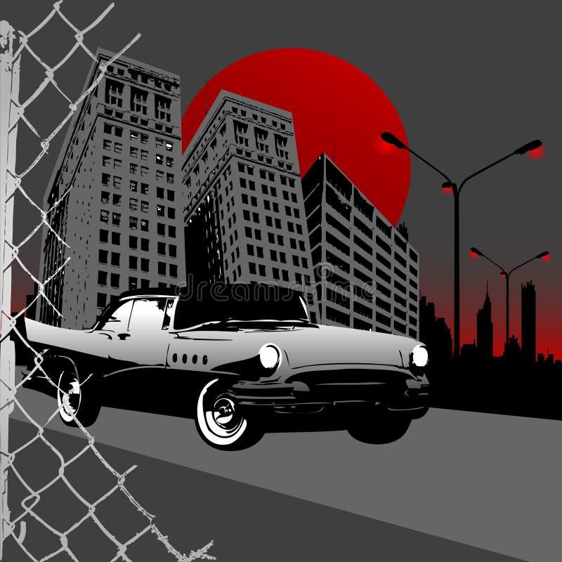 exotisk bilstad stock illustrationer