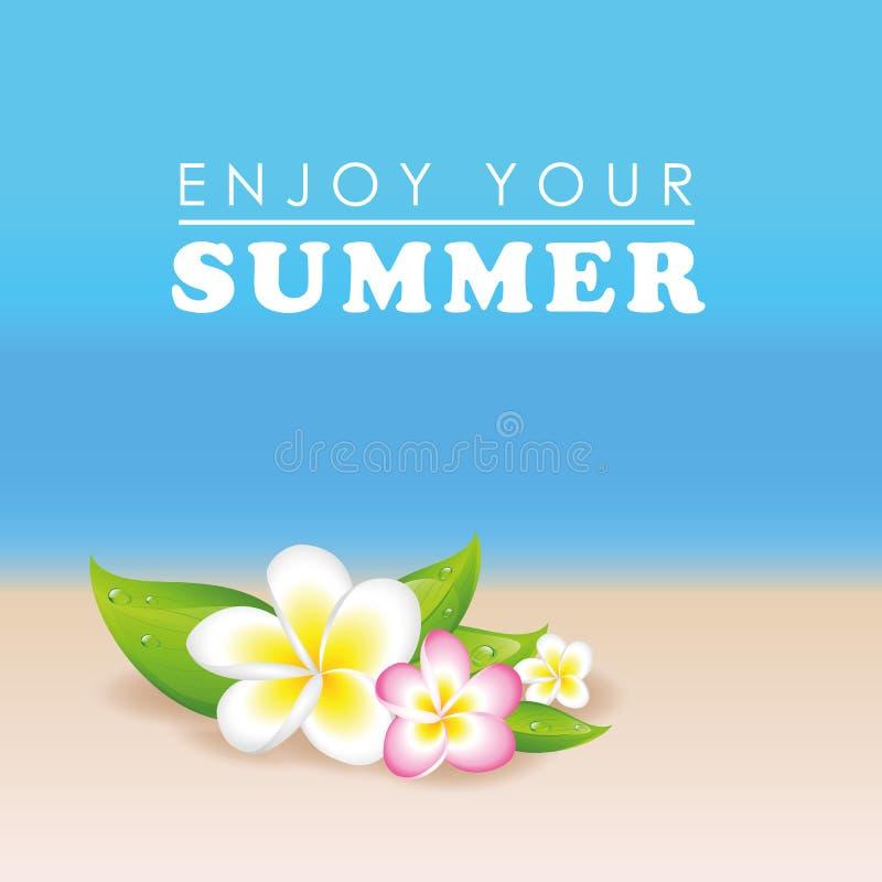 Exotisk blommaplumeria för Frangipani på strandbakgrund i sommar vektor illustrationer