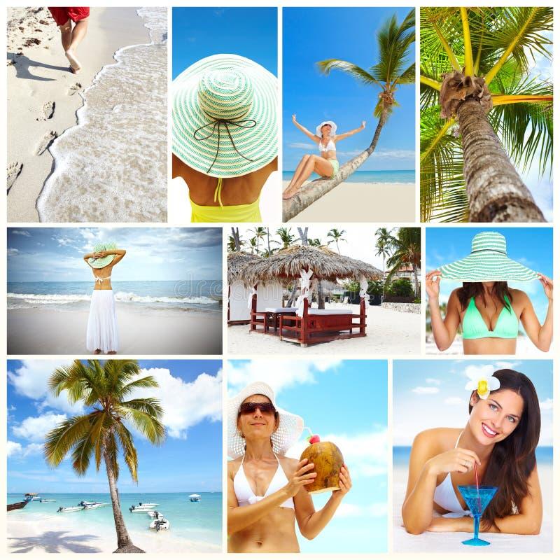 Exotisk collage för lyxig semesterort. arkivfoton