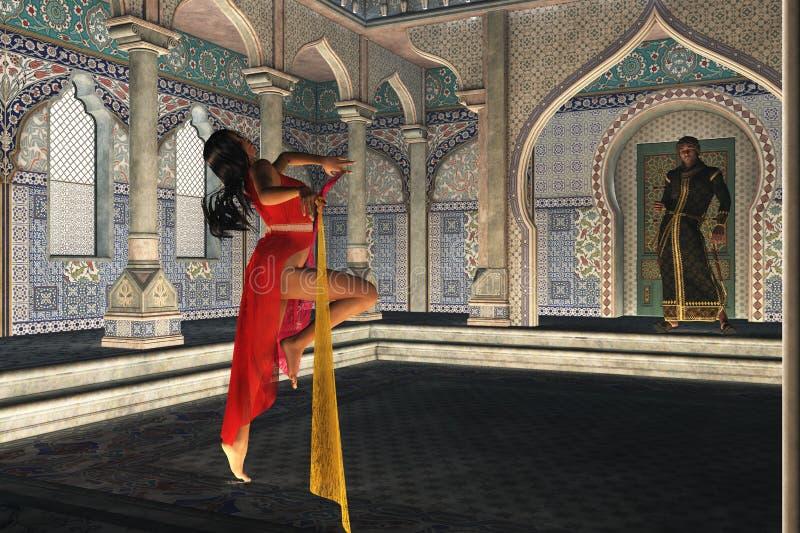Exotisk dansare för arabiska nätter stock illustrationer